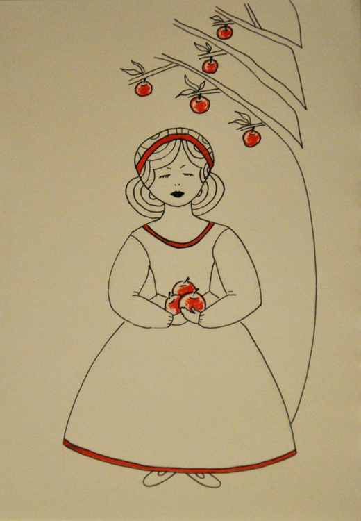Girl with red apples - Image 0