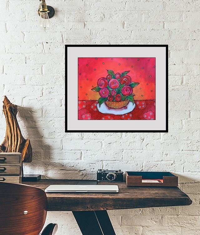 Yellow Basket Of Roses - Image 0