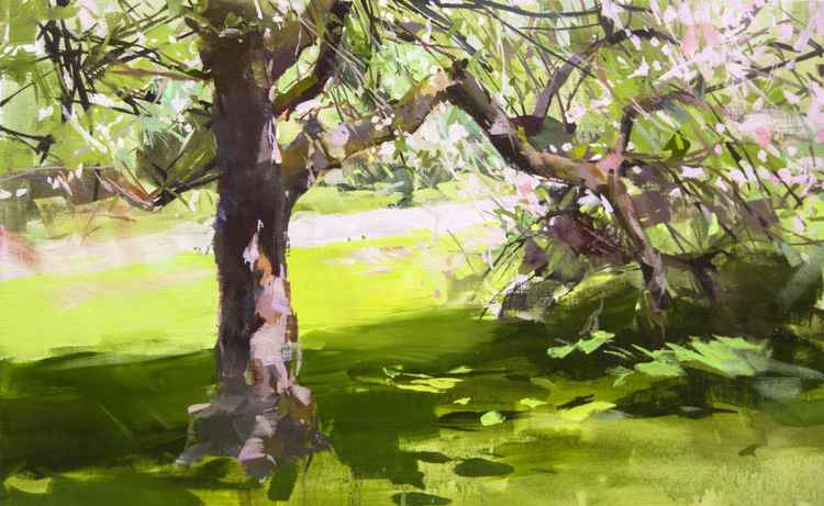 "Green Landscape Painting ""Apple Blossom"" -"