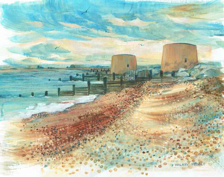 Martello Towers above the Shingle Waves -