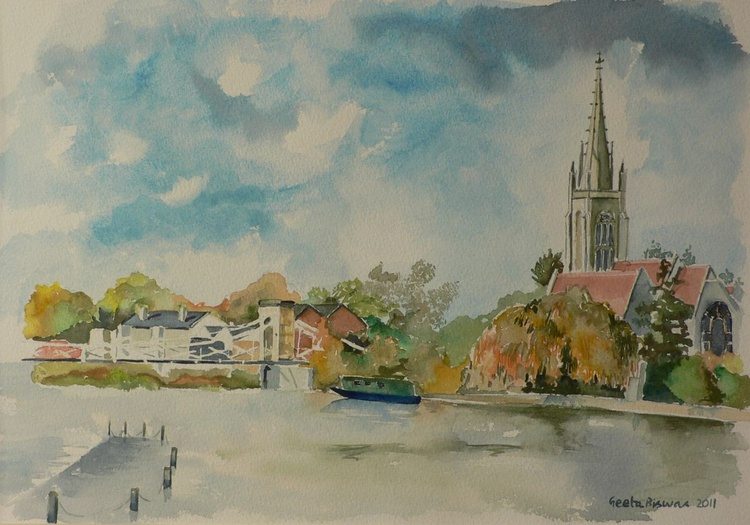 Marlow on Thames, souvenir, ready to hang, framed watercolor - Image 0