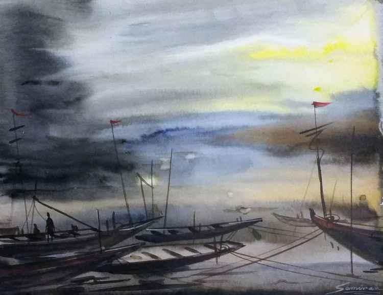 Storm & Fishing Boat - Watercolor painting -