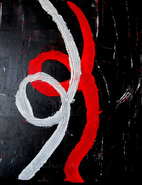 Red, White and Black Abstract Art on Canvas, Textured Acrylic Painting - Image 0
