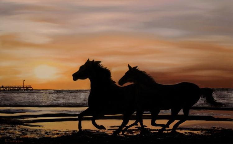 Landscape with horses - Image 0