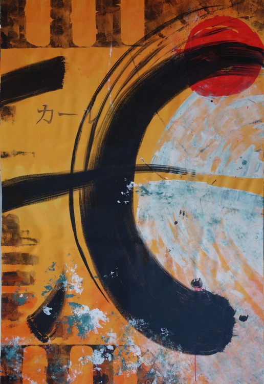 Large orange abstract painting 110×160 cm acrylic on unstretched canvas J67 art original artwork in japanese style - Image 0