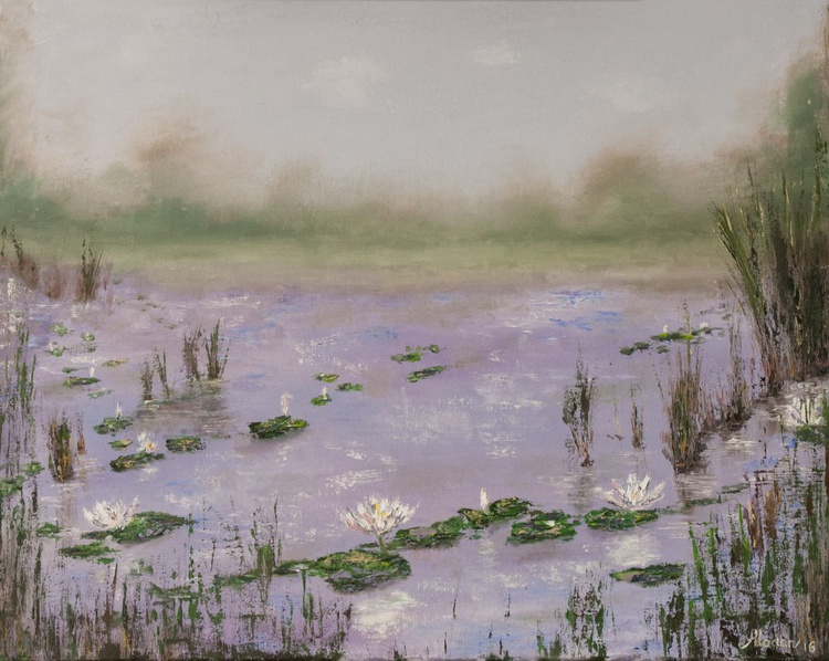Lily pads on a foggy morning (stretched canvas) - Image 0