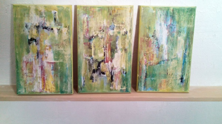 ABSTRACT COMPOSITION. Triptych. Original Modern Abstract Painting On Stretched Canvas. Modern Acrylic Paint On Canvas - Perfect gift and walls decoration. Unique abstract artwork - Image 0