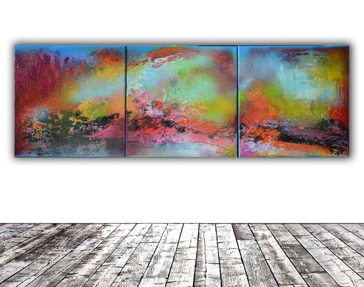 A Breeze Moan - Modern Ready to Hang Multipanel Abstract Painting, Office Wall Decoration - Image 0