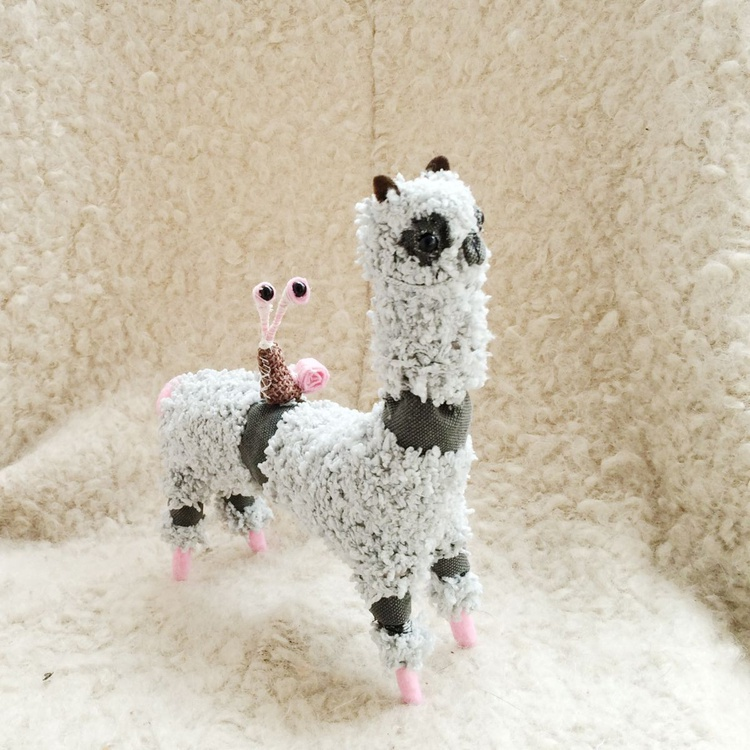 Alpaca and Snail One of a kind Plush Llama Ooak Stuffed Animal - Image 0