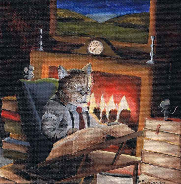 Reading near the Fire -