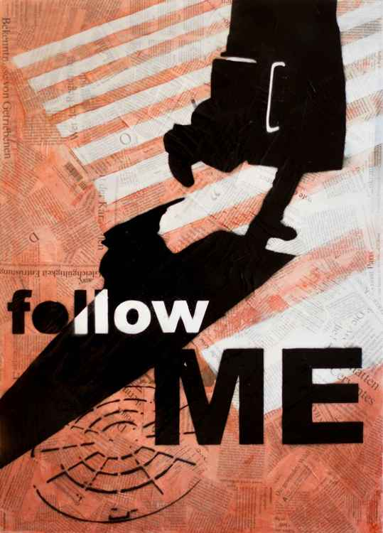 """Follow me"", mixed media - collage, 50x70 cm, ready to hang"