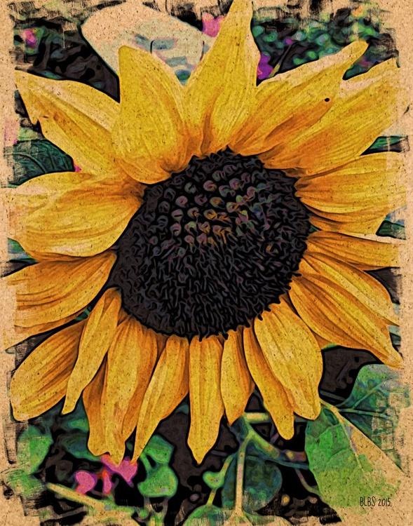 Sunflower, Japanese Woodcut Style - Image 0