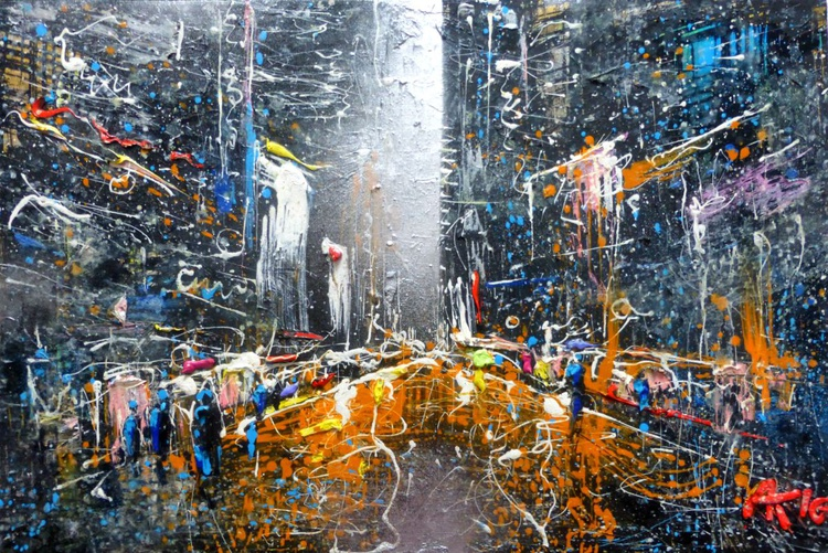 City night  lights, oil painting 90x60 cm - Image 0