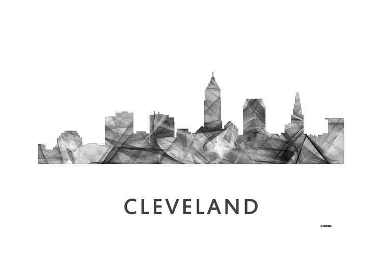 Cleveland Ohio Skyline WB BW