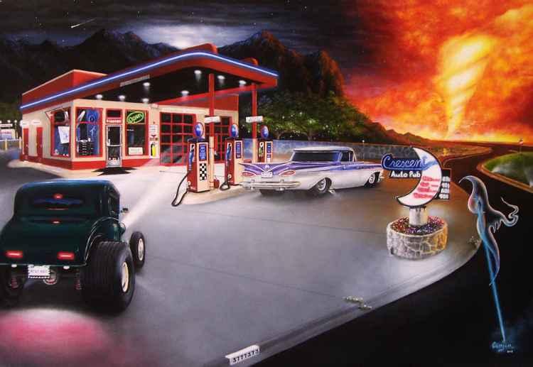 """TORNADO ON FIRE"" - 24 x 36   Cinjin Artworks copyright 2015 -"