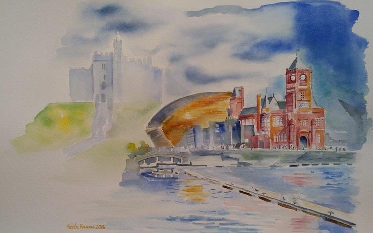 Cardiff memoir, Watercolor, Impressionistic contemporary art, souvenir - Image 0