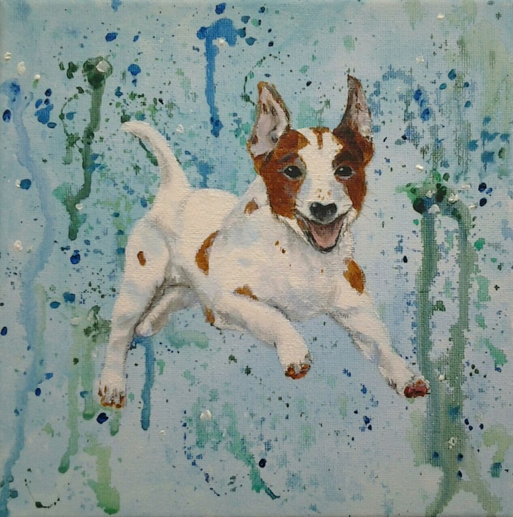 """""""HERE BOY"""", dog pet, Jack Russell, acrylic on 20x20x1.5cm canvas. Ready to hang - Image 0"""