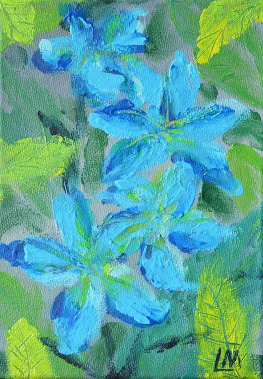 Tropical Flowers - Pulmeria - Finger Painting - Image 0