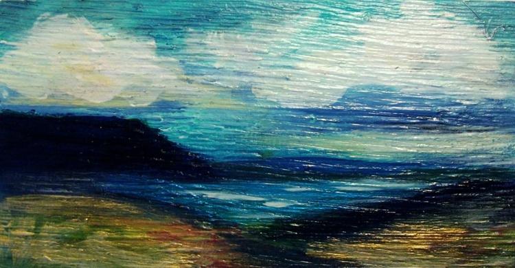 Blue Hill Acrylic Landscape on Wood - Image 0
