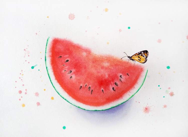 Butterfly On Slice Of Watermelon - Image 0