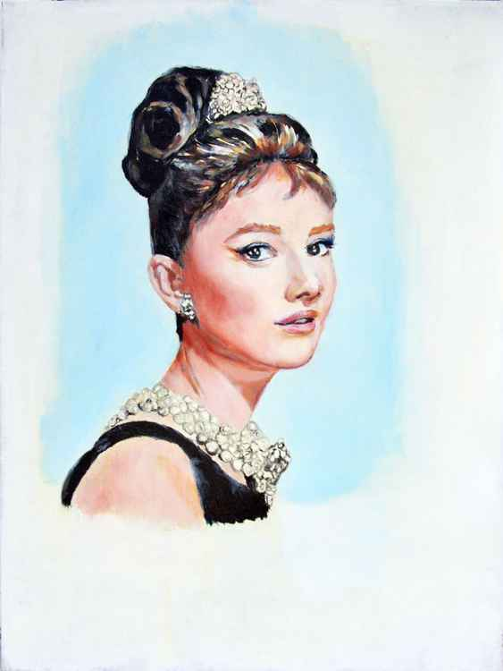 portrait of Audrey Hepburn, Breakfast at Tiffany, portrait, oil painting Audrey Hepburn, Audrey Hepburn art