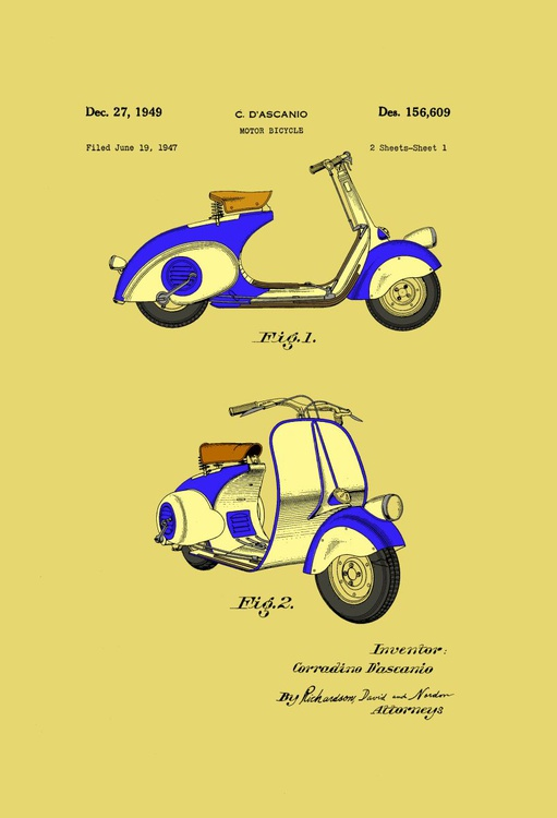 Motor Bicycle Patent - Circa 1949 - Blue and Cream - Image 0