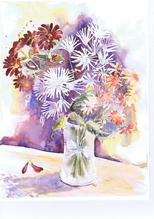 Daisy Flowers in a Vase - Image 0