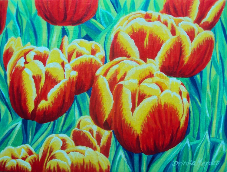 Tulips Original Painting Oil on Canvas - Spring Flowers - Image 0