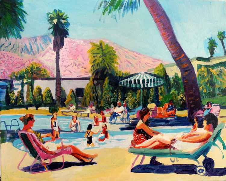 Family pool scene -Palm Springs -