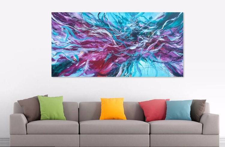 """I will keep coloring your dreams , Acrylic Painting 70x140x4cm / 28x56"""" - Image 0"""
