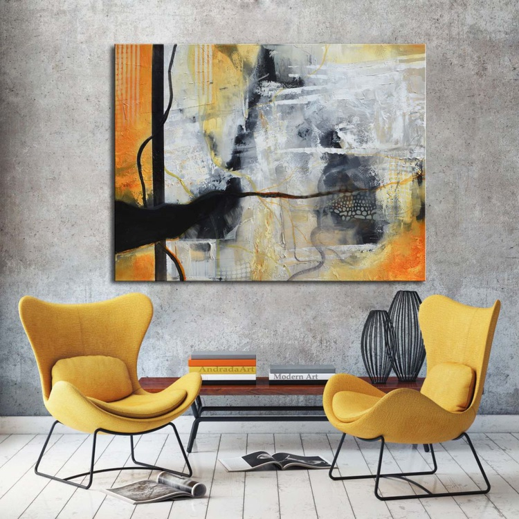 Allure of the Unknown - Black, White and Orange Abstract Painting - Image 0