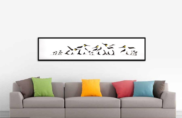 Five penguins and four chicks 15030AR (150 x 30 cm) - Image 0