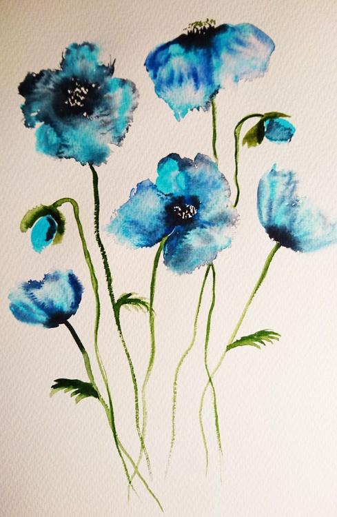 "flowers blue 16"" x 12"" - Image 0"
