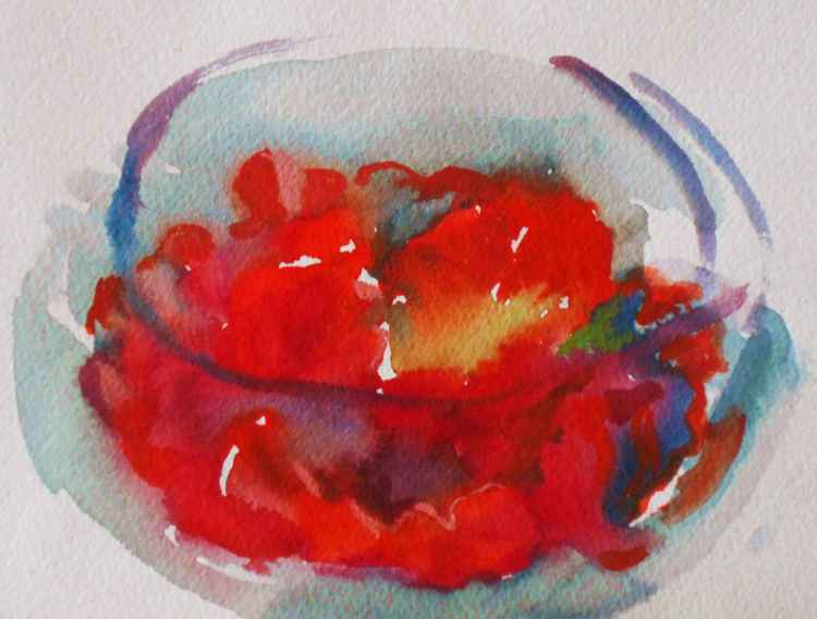Red Flower in Round Glass Bowl #2 -