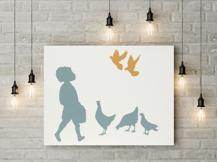 GIRL/BOY WITH BIRDS PRINT PAIR (£128 FOR 2) £32 SAVING(20%) free worldwide delivery - Image 0
