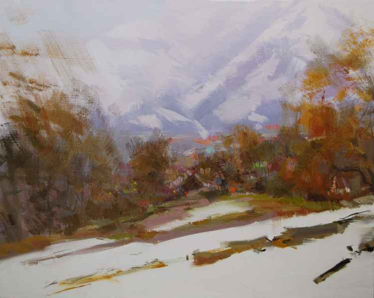 Winter painting - Beginning of the Snowfall