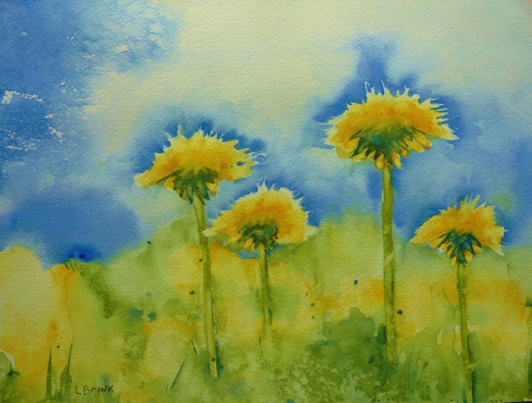 springtime watercolor painting of dandilions - Image 0