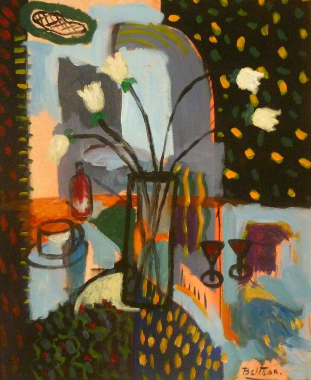 le vase aux tulipes blanches - Image 0