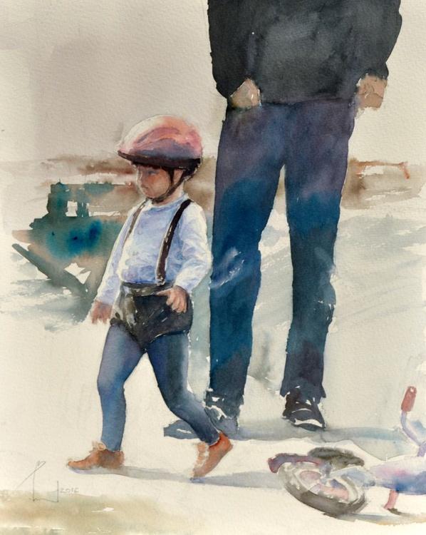 FATHER'S JOB. BILBAO  original watercolour 32x41 - Image 0