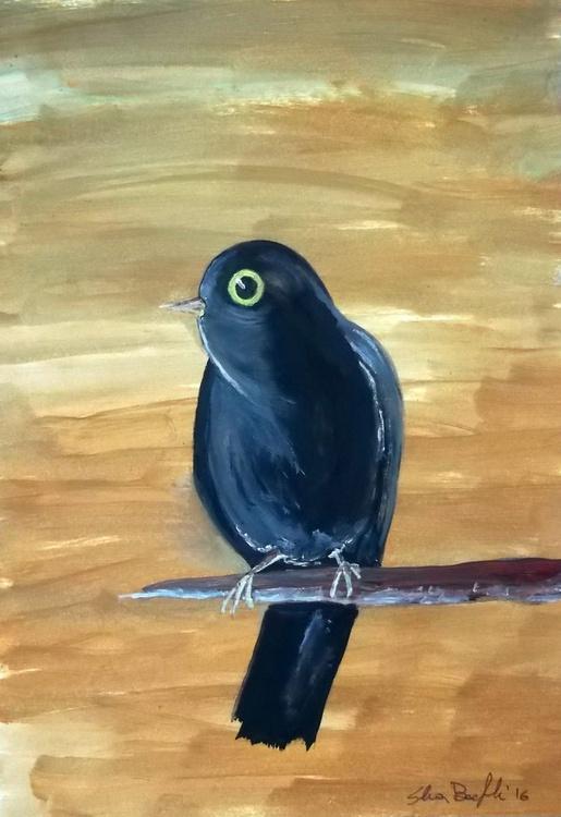blackbird on ochre background - oil on paper - Image 0