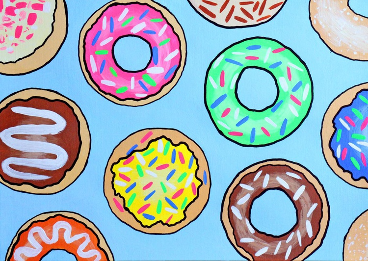 Donuts 2 Pop Art Painting On A4 Paper - Image 0