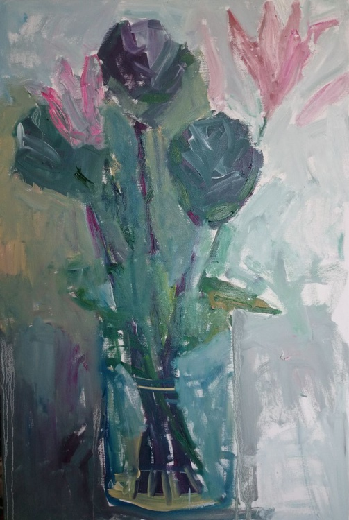 Cabbages and lilies in the glass vase. - Image 0