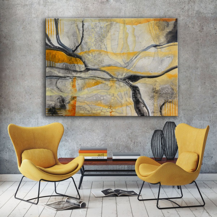 Enchanted Forest - Black and yellow Abstract Painting on wood - Image 0