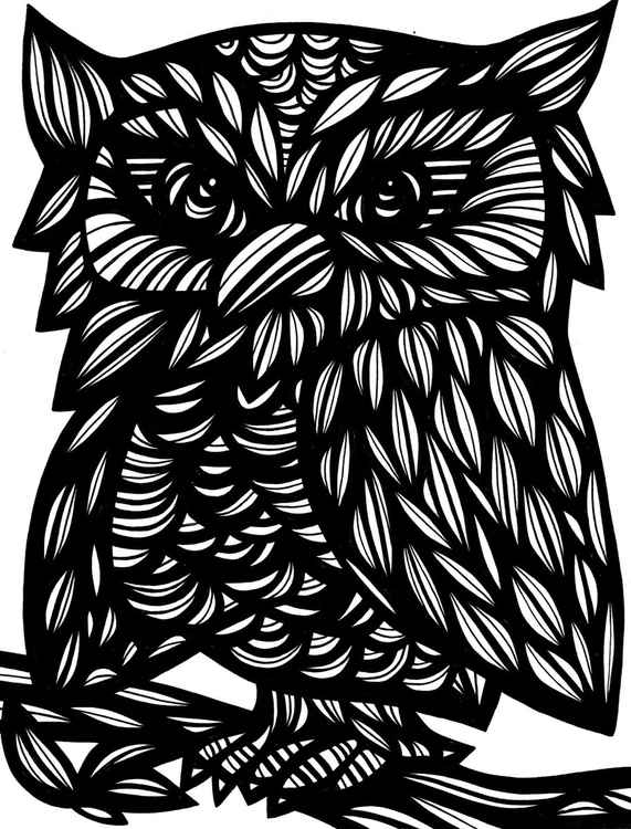 Owl Sitting Original Drawing -