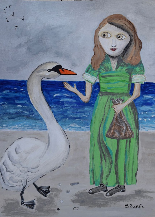 Young lady at beach with white swan - Image 0