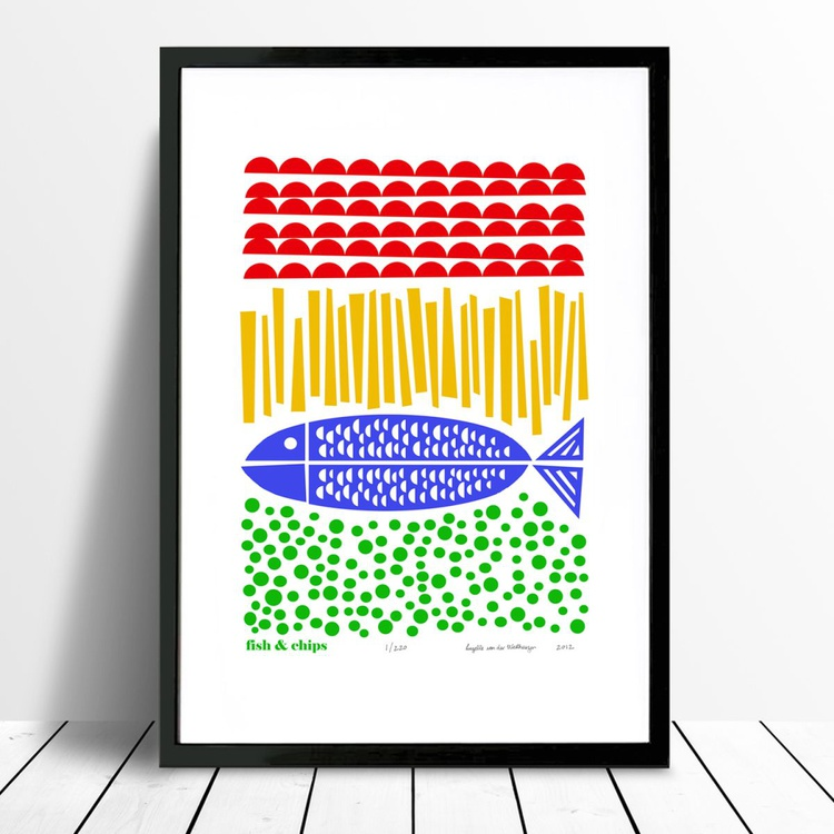 Fish and Chips Print - FRAMED for UK Delivery - Image 0