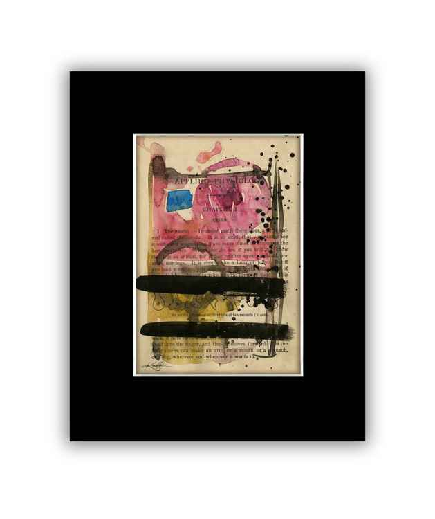 Abstract on Antique Book Page - Abstract Watercolor Painting -