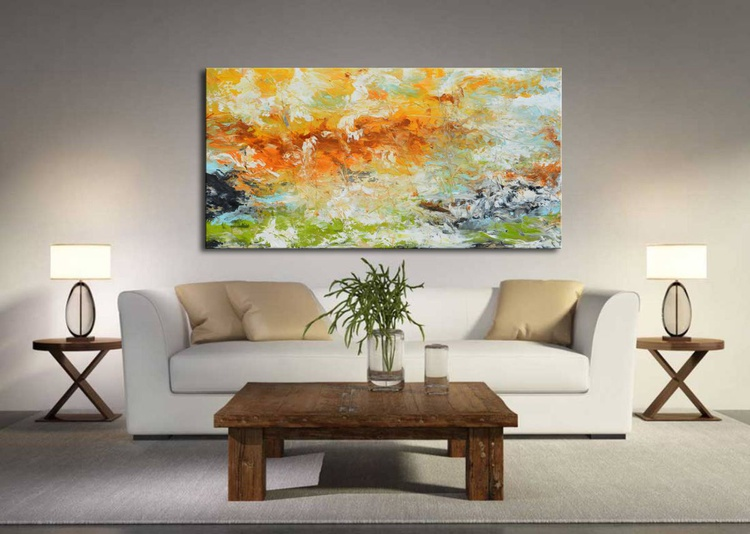 Morning to evening reflection - abstract landscape painting - Image 0