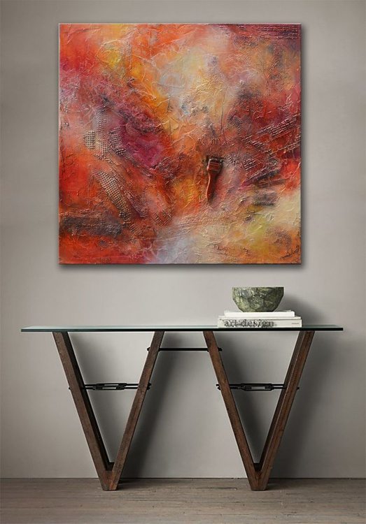 Pieces of Me - Be True to Yourself  - abstract red painting ready to hang - Image 0