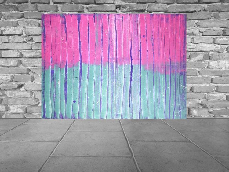 Purple rain - Large palette knife painting - Image 0